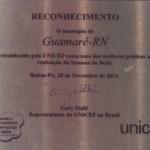 Guamaré: O município ganha placa de reconhecimento do UNICEF. 