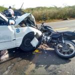 Acidente entre carro e moto deixa uma vitima fatal de Baixa do Meio na BR 406.